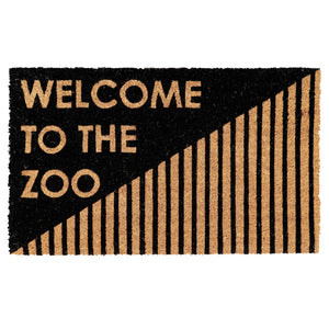"Elegant Black & Brown ""Welcome to The Zoo"" printed Funny Natural Coir Floor Mat - OnlyMat"