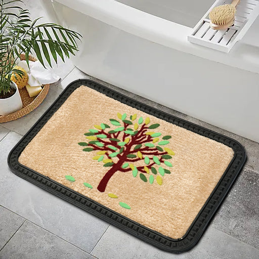 Modern Colourful Tree Soft All-Purpose Mat Home Kitchen Bathroom Door Entrance 40x60x8mm (Beige)