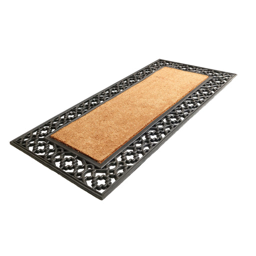 Elegant Oblong Shaped Rubber Coir Moulded Door Mat 45cm x 120cm