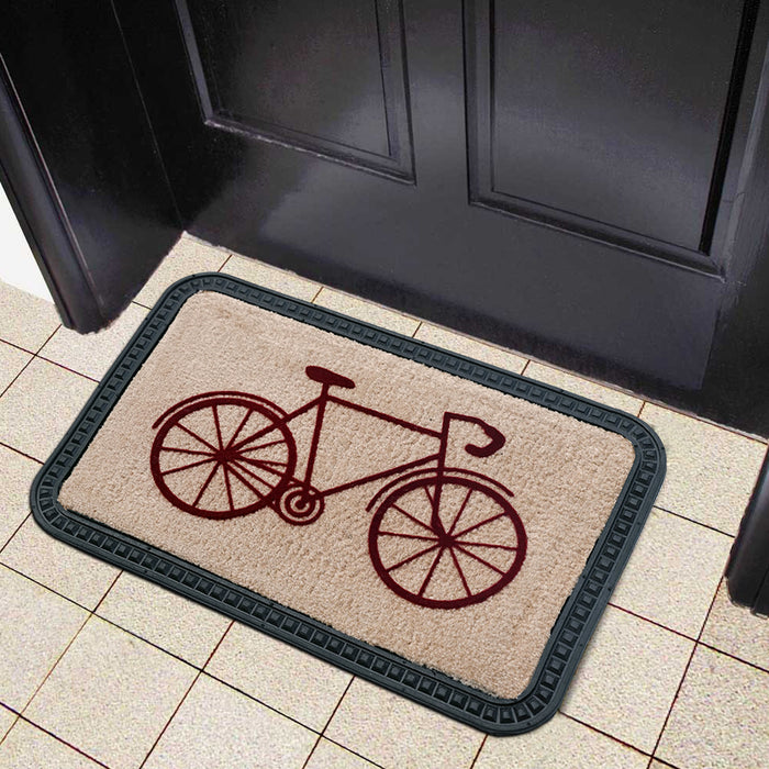 Elegant Cycle Design Soft All-Purpose Mat Home Kitchen Bathroom Door Entrance 40x60x8mm (Beige) - OnlyMat
