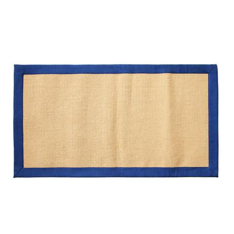 Elegant Handwoven Natural Jute Floor Mat with Blue Border