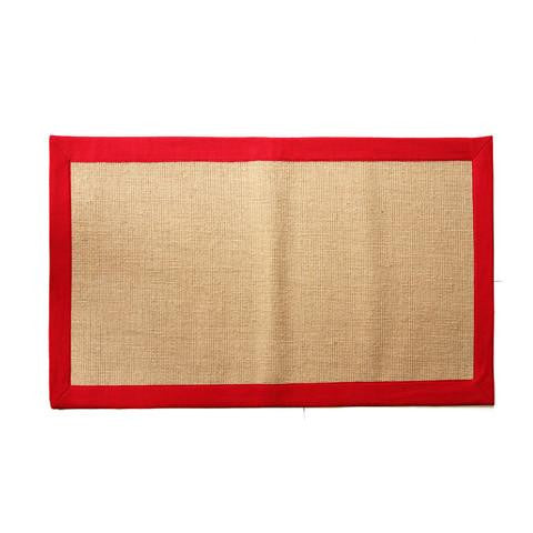 Handwoven Jute Mat with Red Border - OnlyMat