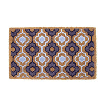 Elegant Design Pattern Printed Natural Flocked Coir Floor Mat - OnlyMat