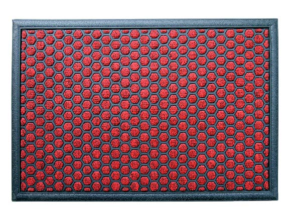 Red Colour Polka Dot All Purpose Mat For Bathroom Kitchen Entrance Onlymat