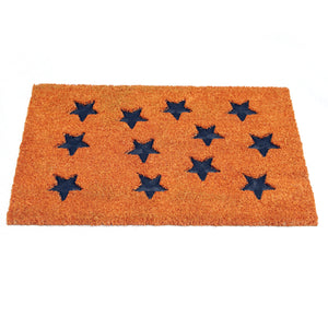 Pressed Star Design Natural Coir Doormat PVCIMP 00008 - OnlyMat