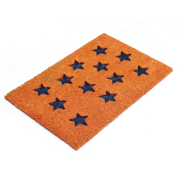 Pressed Star Design Natural Coir Doormat PVCIMP 00008