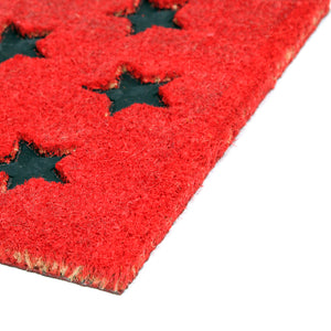 Pressed Star Design Natural Coir Doormat. PVCIMP 00008 RED - OnlyMat