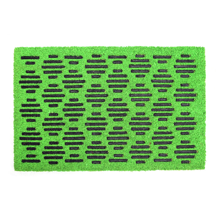 Pressed Design Natural Coir Doormat. PVCIMP 00011 GRN