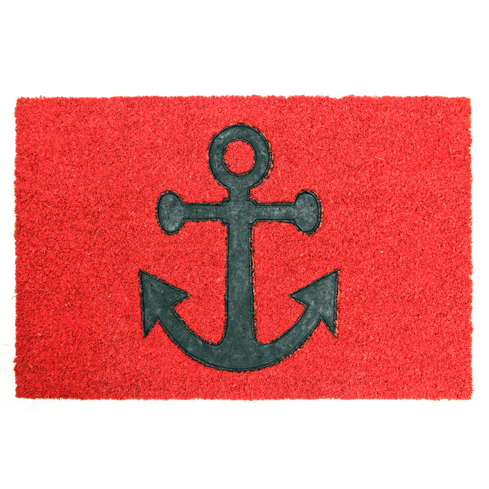 Pressed Anchor Design Natural Coir Doormat.