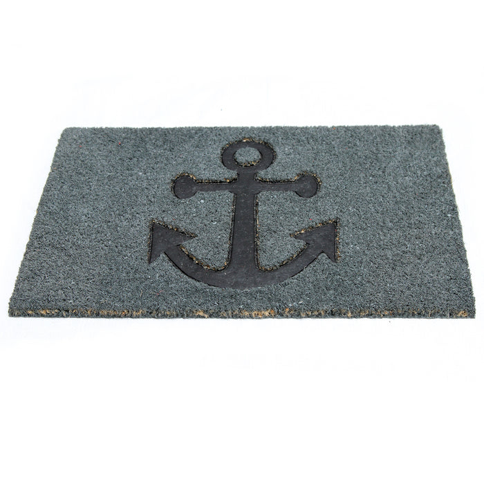 Pressed Anchor Design Natural Coir Doormat PVCIMP 00009 - OnlyMat