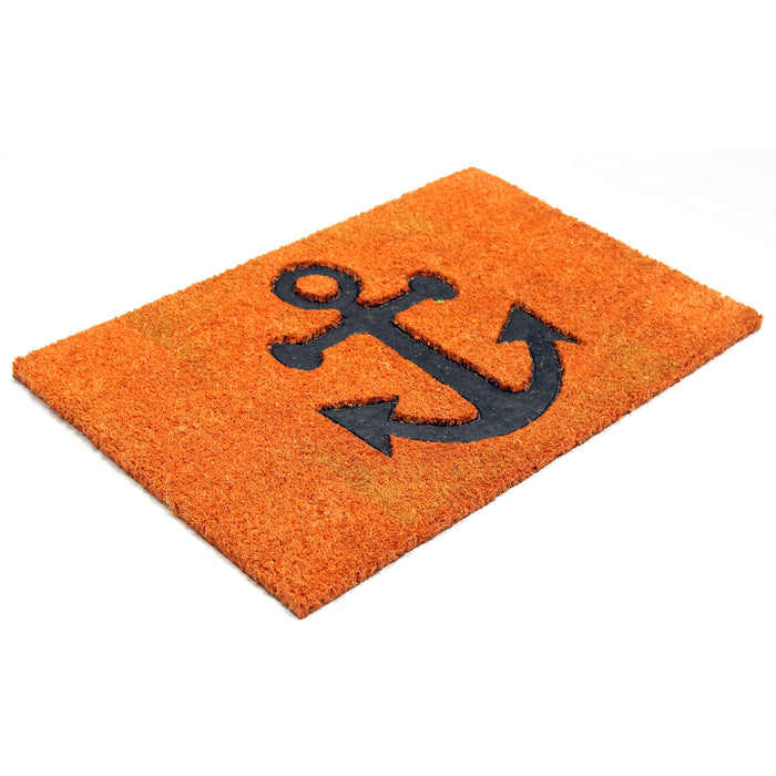 Pressed Anchor Design Natural Coir Doormat PVCIMP 00009