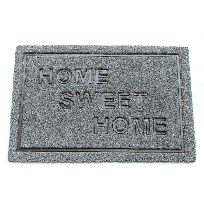 Pressed HomeSweetHome Design Natural Coir Doormat. PVCIMP 00010 GRY