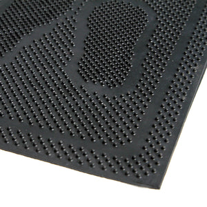 Lightweight Foot Mark printed flexible Black Rubber Pin Floor Mat - OnlyMat