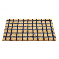 Black and Brown Checked Natural Coir Floor Mat