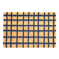 Black and Brown Checked Natural Coir Floor Mat - OnlyMat