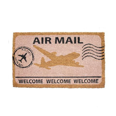 "Elegant ""Air Mail"" and ""Welcome"" Printed Natural Coir Door Mat"
