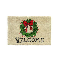 Christmas Decorative Wreath Printed Natural Coir Welcome Door Mat - OnlyMat