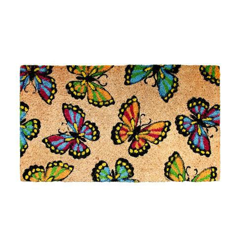 Multicolor Butterfly Printed Coir Doormat