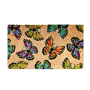 Beautiful Multi-colour Butterfly Printed Coir Floor Mat - OnlyMat