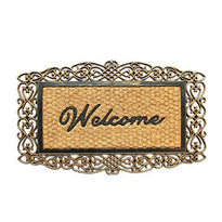 "Elegant ""Welcome"" printed Metallic Finish Designer Natural Coir Entrance Mat - OnlyMat"