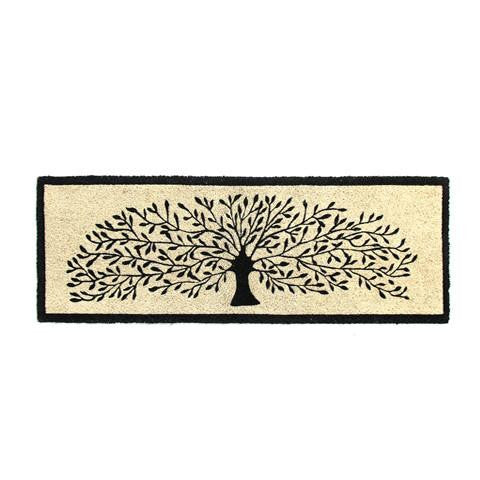Long Black colour Tree Printed Natural Coir Floor Mat - OnlyMat