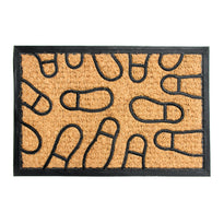 Natural Coir Floor Mat with Moulded Foot Mark Design and Black Border