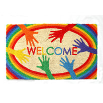 "Colourful LGBTQ Themed ""Welcome"" printed Natural Coir Door Mat"
