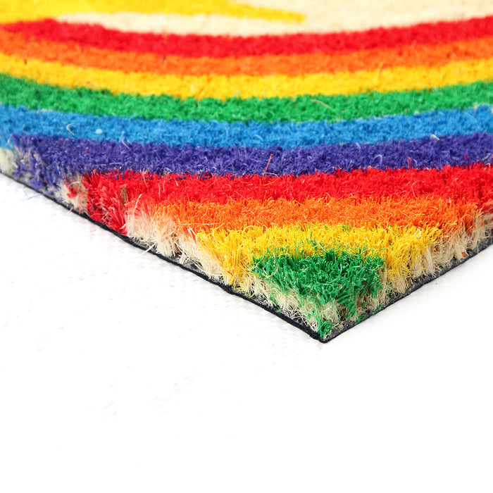 "Colourful LGBTQ Themed ""Welcome"" printed Natural Coir Door Mat - OnlyMat"