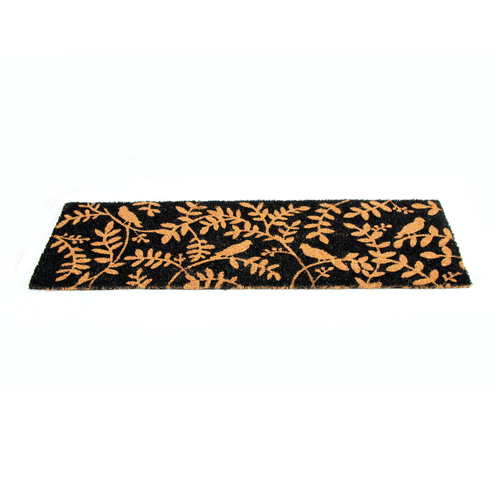 Birds and Leaf Printed Natural Coir Long and Black Door Mat - OnlyMat