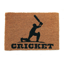 Printed Cricket Batsman on Natural Coir Floor Mat