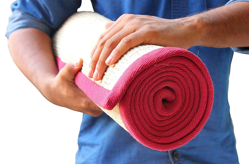 Jute Yoga Mat With Maroon Cotton Border