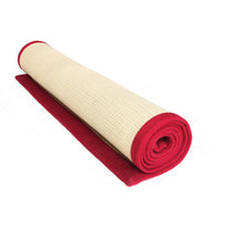 Eco-Friendly Jute Anti-Skid Yoga Mat With Maroon Cotton Border - OnlyMat