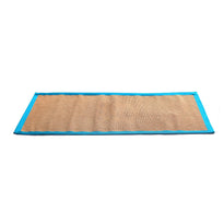 Jute Yoga Mat With Light-Blue Cotton Border