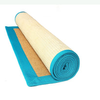 Eco-Friendly Jute Anti-Skid Yoga Mat With Light-Blue Cotton Border - OnlyMat
