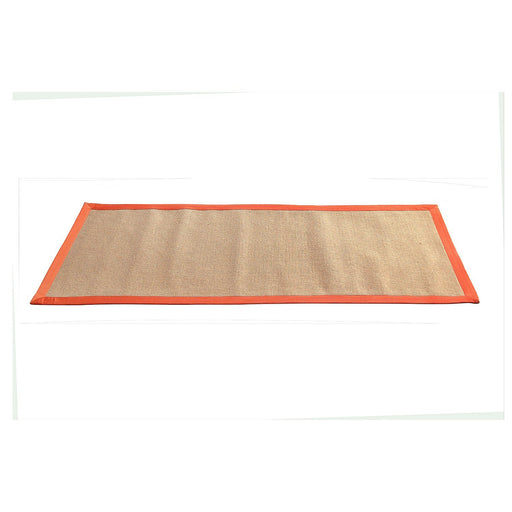 Jute Yoga Mat With Orange Cotton Border