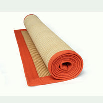 Eco-Friendly Jute Anti-Skid Yoga Mat With Orange Cotton Border - OnlyMat