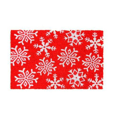 Snow Flake Printed Natural Coir Doormat