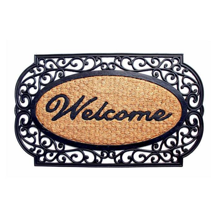 """Welcome"" Printed Elegant Moulded Coir Mat with Black Border - OnlyMat"