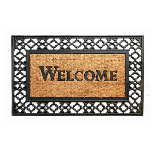 Black Coco Rubber Welcome Entrance Mat with wide Border - OnlyMat