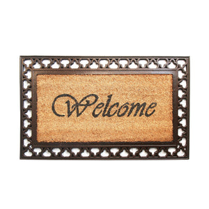 Golden Colour Coco Rubber Welcome Entrance Door Mat with Wide Border - OnlyMat