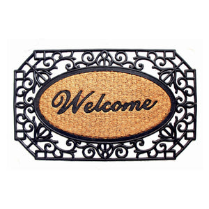 Welcome Door Mat with Large Cast Iron Grill Border Design - OnlyMat