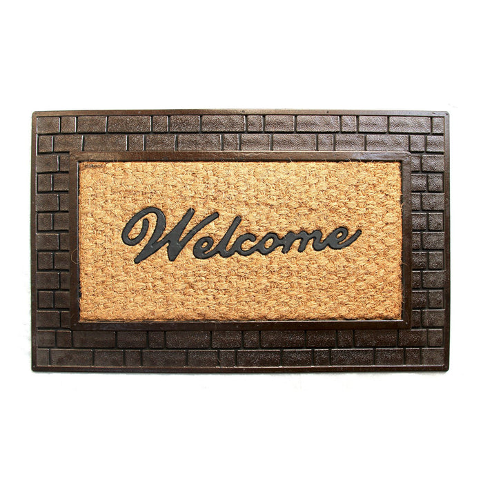 Golden Colour Coco Rubber Welcome Entrance Door Mat with Wide Brick Design Border - OnlyMat