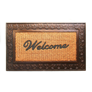 Brown Coco Rubber Welcome Entrance Door Mat with Owl Design Border - OnlyMat