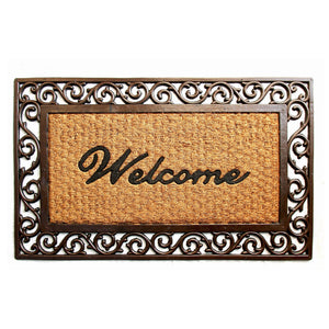 Brown Colour Coco Rubber Welcome Entrance Mat with Wide Border - OnlyMat