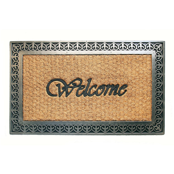 Metalic Grey Colour Coco Rubber Welcome Entrance Door Mat with Border - OnlyMat