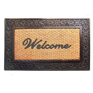 Elegant Moulded Rubber and Coir Welcome Designer Door Mat with Border - OnlyMat