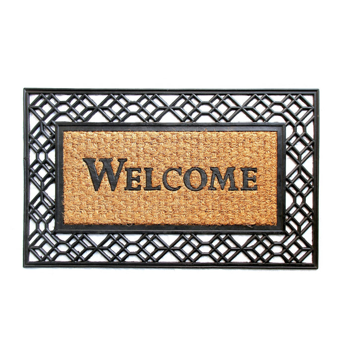 """Welcome"" Printed Moulded Coir Mat with Black Border"