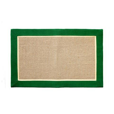 Jute Mat with Green Color Cotton Border