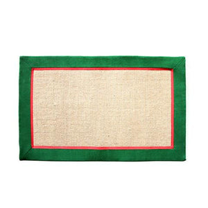 Elegant Handwoven Natural Jute Floor Mat with Green and Red Border - OnlyMat