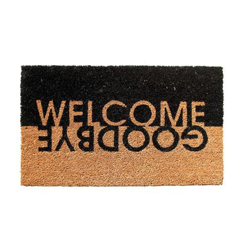 "Stylish ""Welcome Goodbye"" Printed Black & Brown Natural Coir Door Mat - OnlyMat"